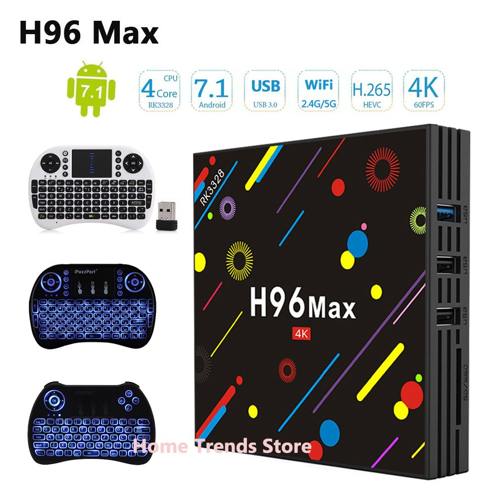 H96 MAX H1 Android 7.1 TV Box update version to H96 Max H2 4G 32G Set Top Box RK3328 Wifi BT 4K H.265 Media Player pk h96 pro
