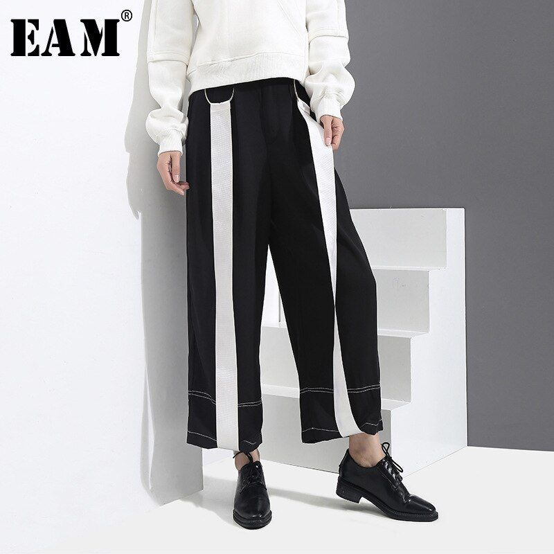 [EAM] 2018 Autumn New Fashion Loose Directly White Ribbon Elastic Waist Casual Wide Leg Pants Ankle-lenght Pants Women YC187
