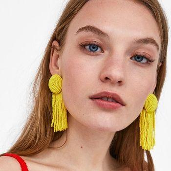 AOTEMAN Bohème À La Mode Résine Perles Gland Boucle D'oreille De Mode Bordées Déclaration Boucles D'oreilles ZA Bijoux pour Femmes
