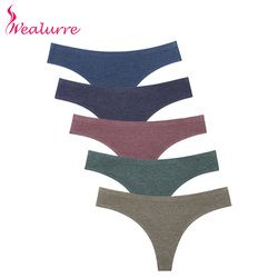 Wealurre Ladies Sexi Low Waist Tanga Female Invisible Underwear Womens Seamless Panties Thong Cotton Briefs G String Lingerie