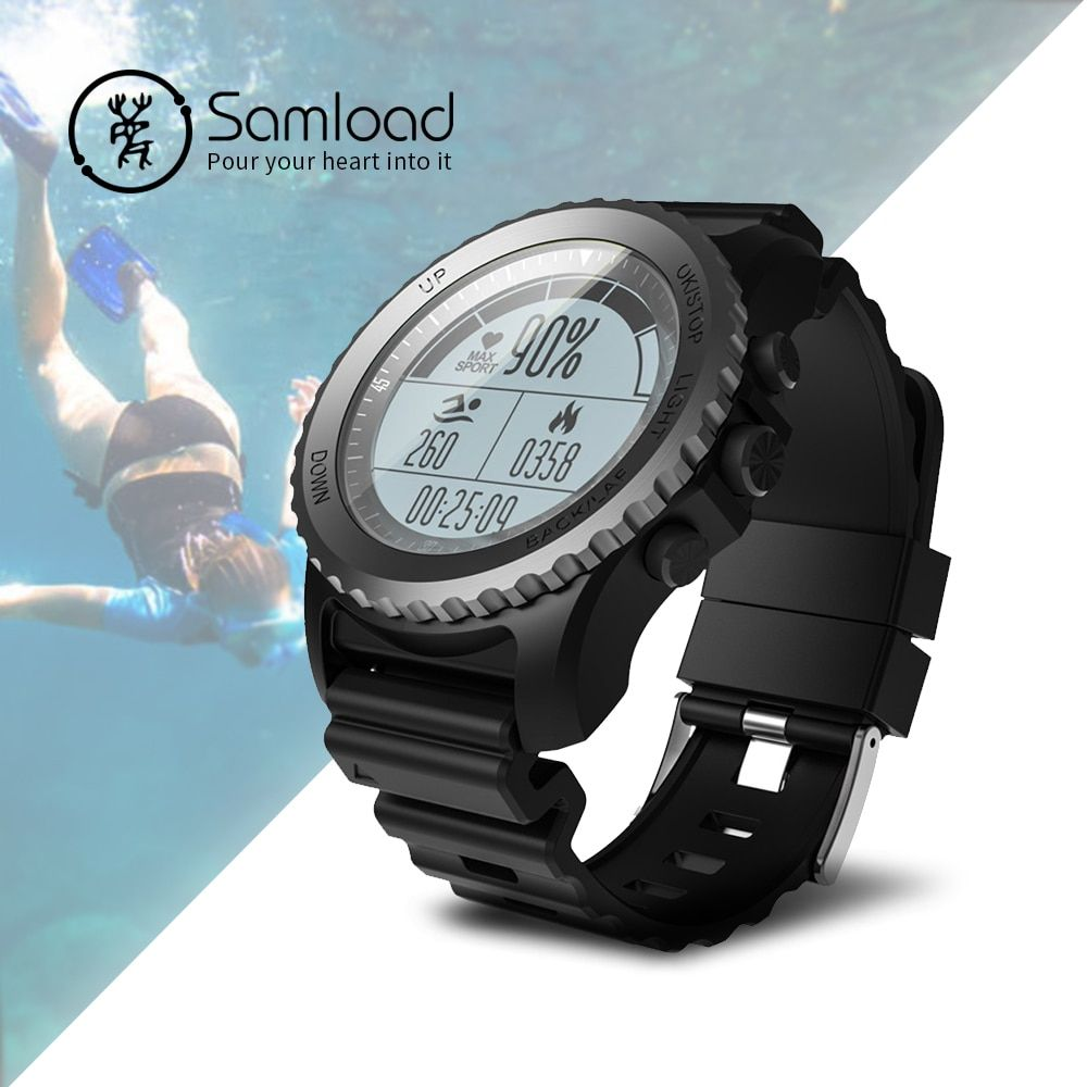 Samload S968 Smart Watch Swimming sport Band Fitness Tracke Clock Running Passometer GPS Compass <font><b>IP68</b></font> For iPhonne SE 7 8 Xiaomi