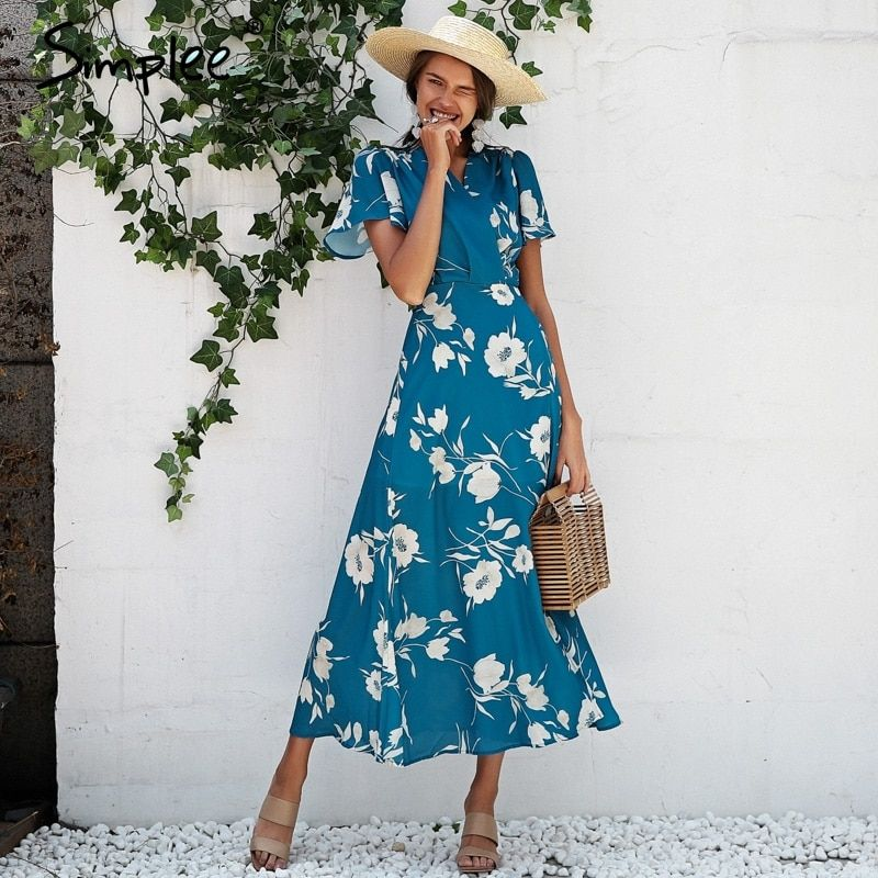 Simplee Boho floral print maxi dress women Sexy v neck wrap long dress Ruffle short sleeve summer beach dress vestido 2018
