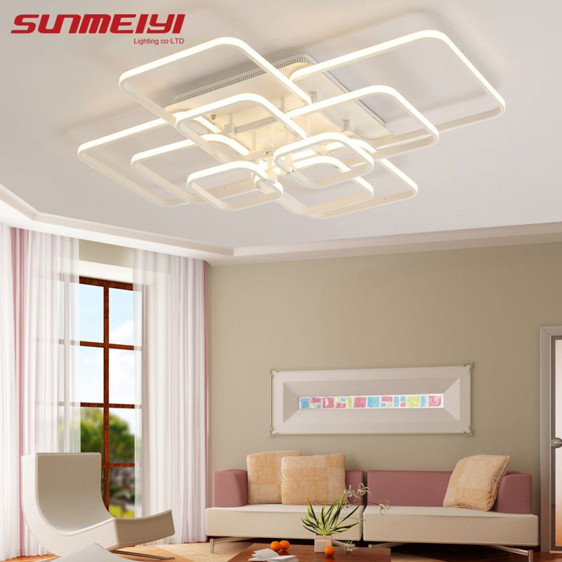2018 New Modern Led Acrylic Ceiling Lights Fixture Rectangular Living Room Lights luminarias de interior Home Decoration
