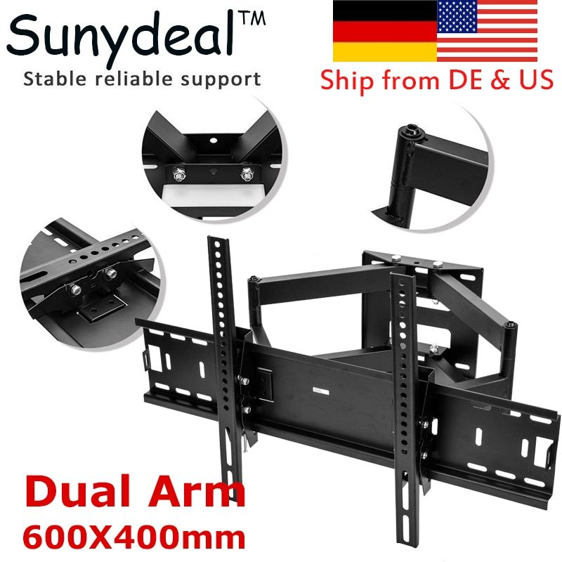 Articulating Full Motion TV Wall Mount Dual Arm Swivel Suitable TV Size 32'' 37'' 42'' 55'' 60'' 65'' 70'' TV Bracket 600x400mm