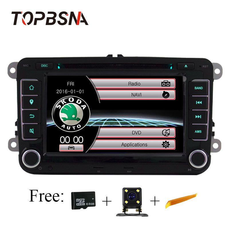 TOPBSNA 7 zoll für Skoda Volkswagen VW passat B6 golf 4 touareg T5 sharan Touran polo tiguan GPS Navigation Auto multimedia TMPS