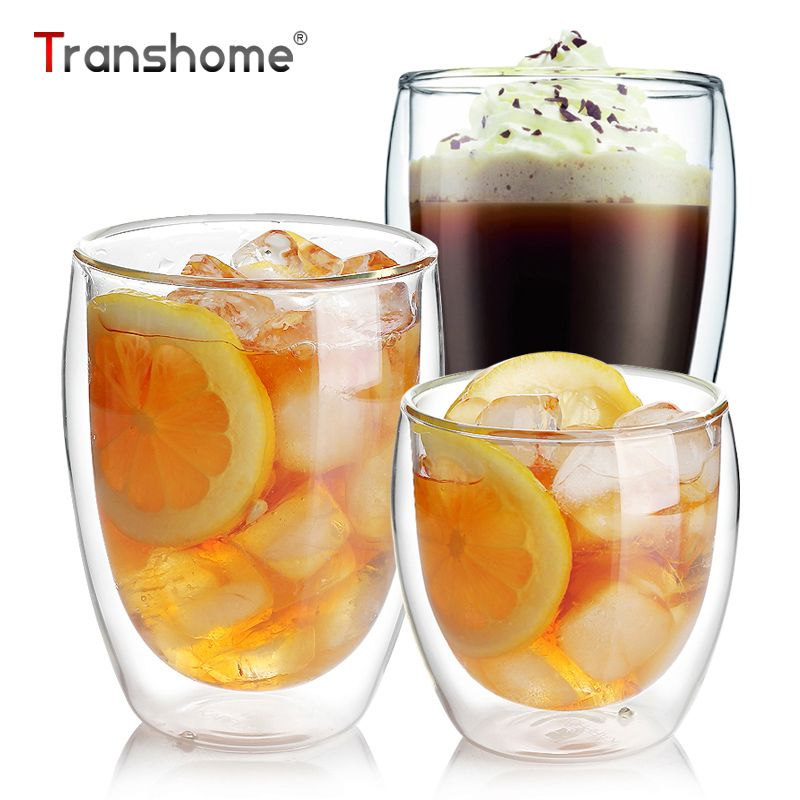 Transhome Double Glass Coffee Cups 350ml Vodka Wine Double Walled Glasses Cups Clear Handmade Coffee Cup For Flower Juice Water