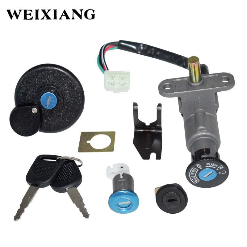 Motorcycle Ignition Switch Key Set Kit for GY6 50cc 125cc 150cc Moped Scooter 4 Pin Plug Chinese Scooter Parts