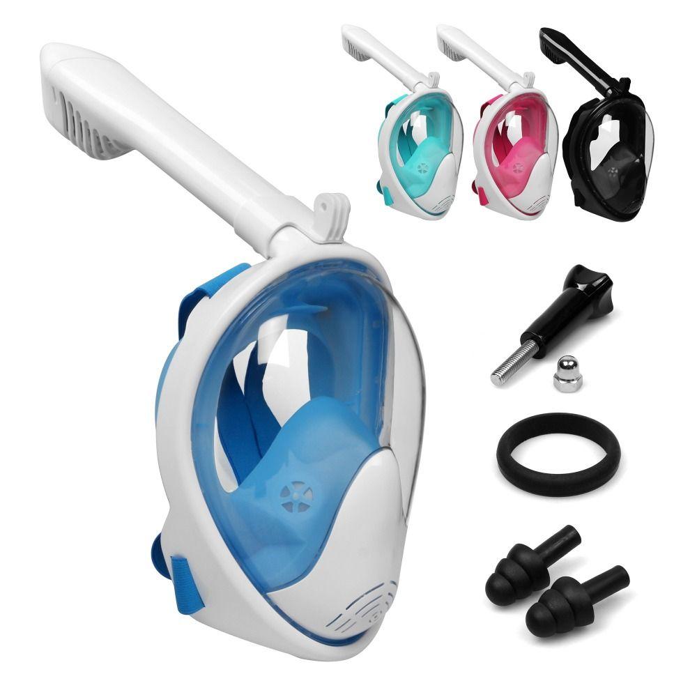 Hot Sale Scuba GoPro Camera Snorkel Mask <font><b>Underwater</b></font> Anti Fog Full Face Snorkeling Diving Mask with Anti-skid Ring Snorkel