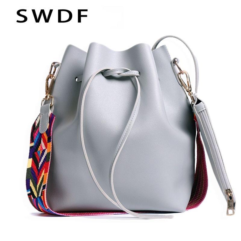 2019 Women PU Leather Shoulder Bag dropshipping Designer Ladies Crossbody messenger Bag Women bag with Colorful Strap Bucket Bag