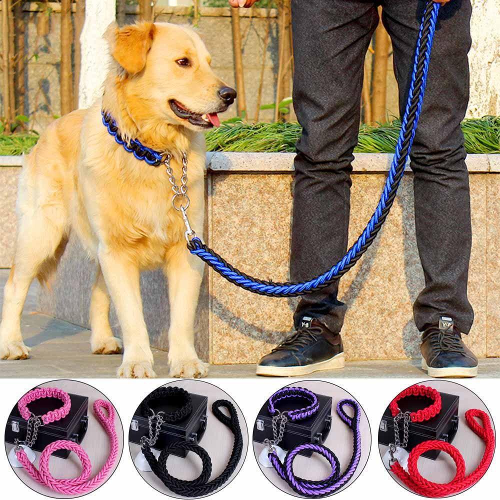 Einstellbare Hundehalsband Leine Nylon Haustier Leine Seil für Große Hunde weiche Hundehalsband P Kette für Kleine Welpen Hunde Ausbildung Slip