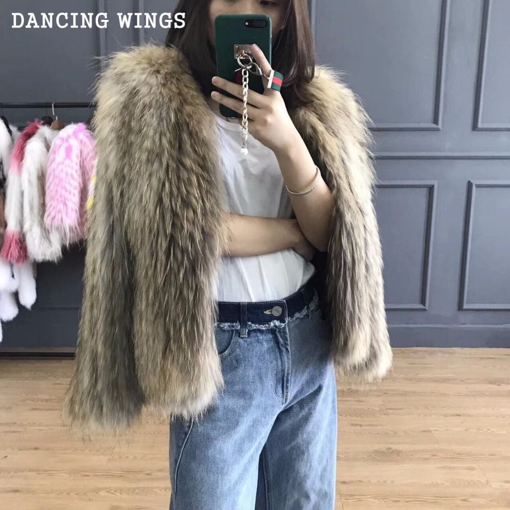 High Quality Natural Raccoon Fur Knitted Coat Women's Long Sleeve Winter Warm Genuine Fur Coats Jackets