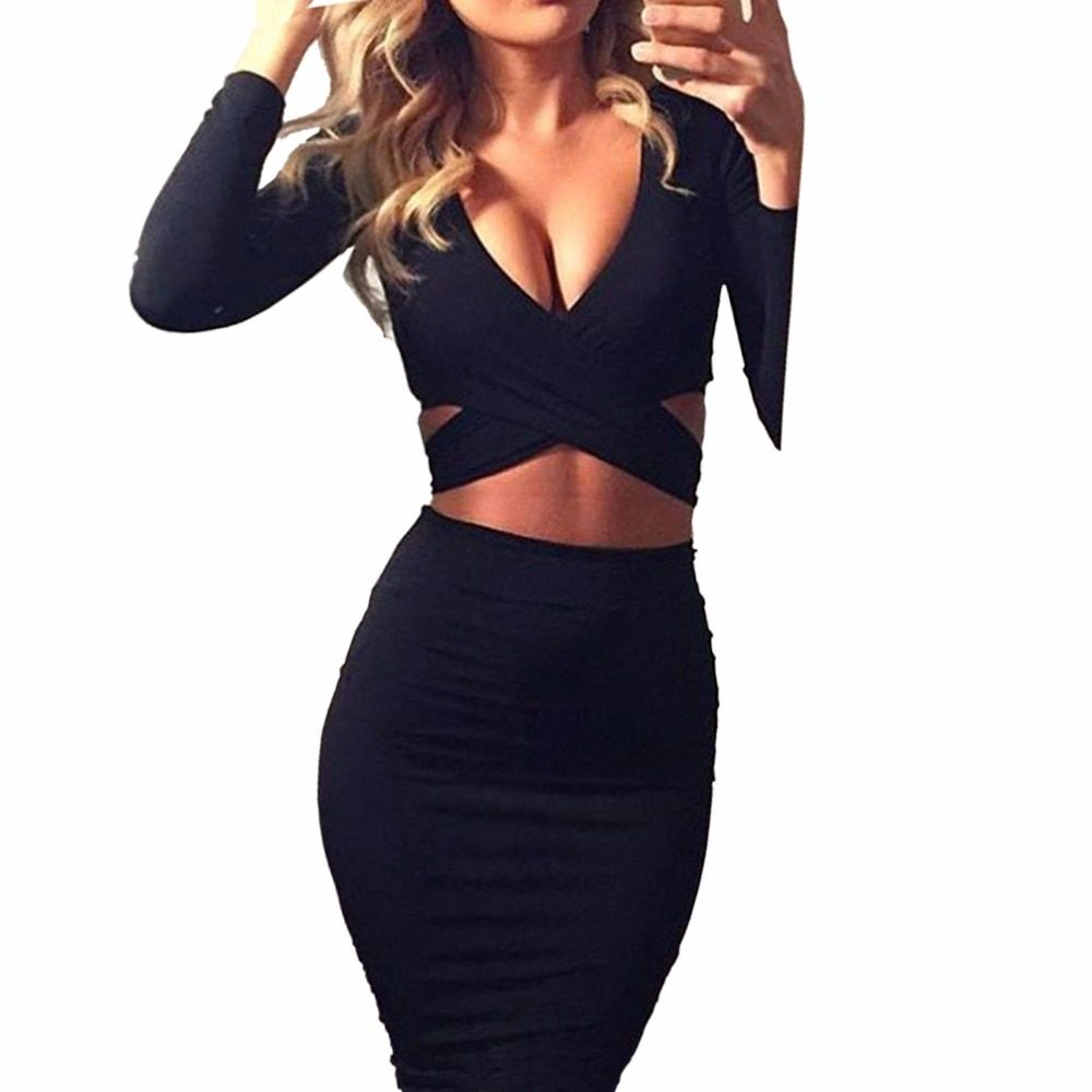 Nadafair Red Black White Long Sleeve Elastic Cotton Warm Party Dresses Vestidos Sexy Midi Pencil Club Bodycon Bandage Dress