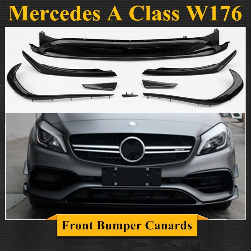 Mercedes W176 Carbon Fiber/ABS Front Bumper Lip Canards 8 pieces/set A45 AMG Style for Mercedes A Class W176
