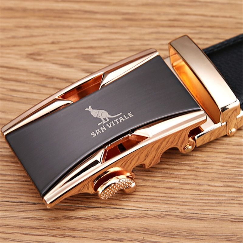 Famous Brand Belt Men 100% Good Quality Cowskin Genuine Luxury Leather Men's Belts for Men,<font><b>Strap</b></font> Male Metal Automatic Buckle