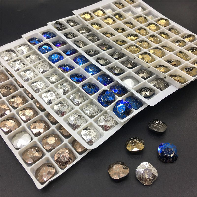 TopStone 12MM Classicial Fat Square Shape Glass Rhinestones New Crystal Patina Colors Crystal Stone Strass Diamond