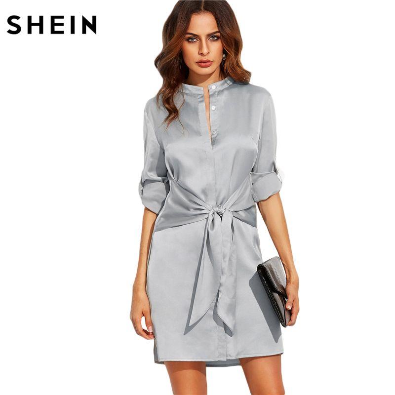 SHEIN Elegant Autumn Dress Short Dresses for Women Autumn Ladies Plain Silver Round Neck Roll Up Long Sleeve Tie Waist Dress