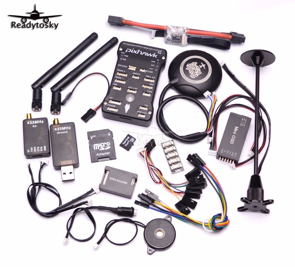 Pixhawk PX4 PIX 2.4.8 32 Bit Flight Controller+433/915 Telemetry+M8N GPS+Minim OSD+PM+Safety Switch+Buzzer+PPM+I2C