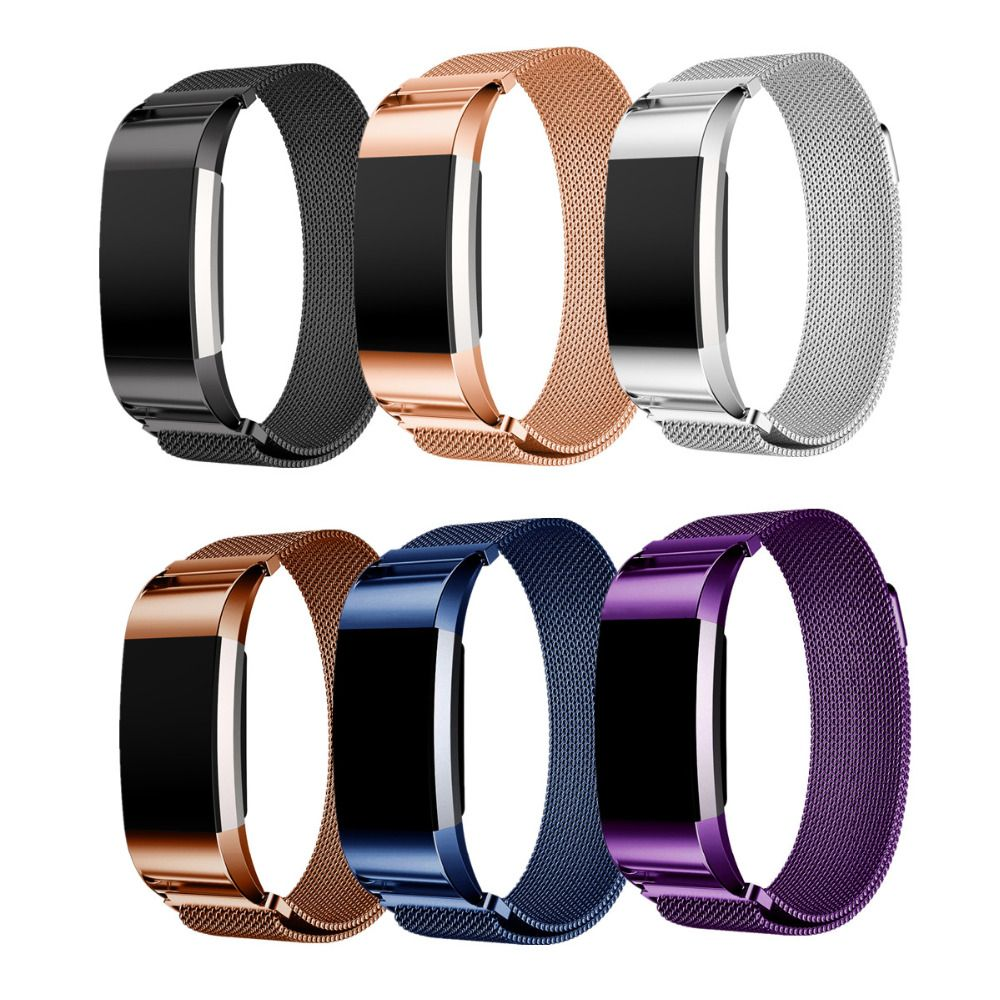 LNOP Milanese Loop for Fitbit Charge 2 band strap Magnetic wristband replacement Link Bracelet Stainless Steel smartwatch Band