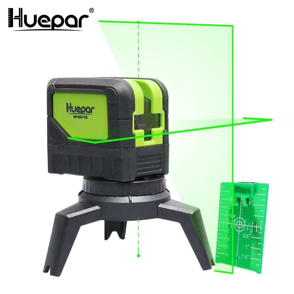 Huepar Green Beam Laser Level 2 Cross Lines 2 Points Professional 180 Degrees Self-leveling Nivel Laser Diagnostic Tools 9211G
