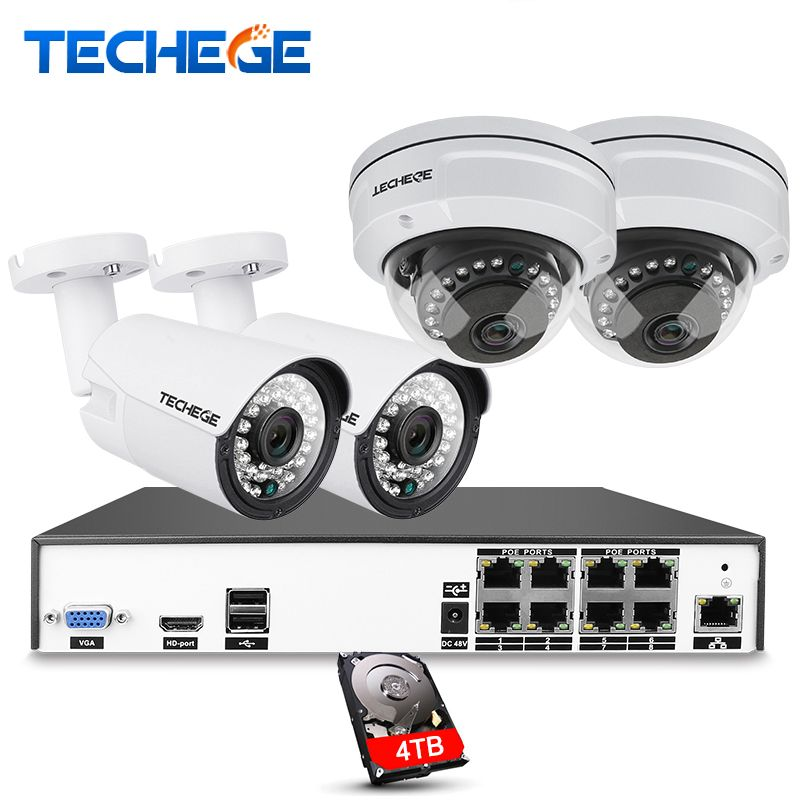 Techege H.265 8CH CCTV System 5MP 3MP 2MP Metal Outdoor IP Camera 8CH 4K POE NVR Kit Alarm Email Night Vision APP PC Remote