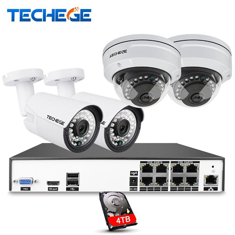 Techege H.265 8CH CCTV System 5MP 3MP 2MP Metal Outdoor IP Camera 8CH 5MP POE NVR Kit Alarm Email Night Vision APP PC Remote