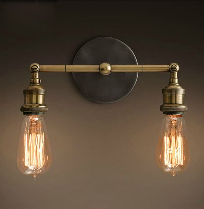 Industrial style restoring ancient ways double wall lamp vintage wall lamp Edison wall light contains Edison bulbs free shipping