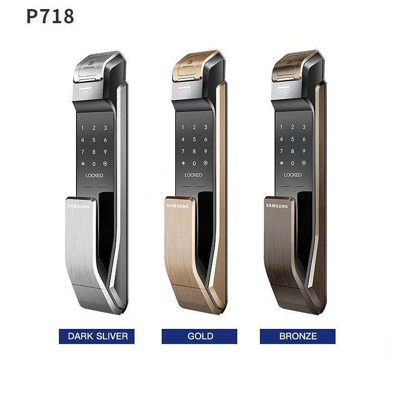Englisch Verion Große Einsteckschloss Samsung SHS-P718 Fingerprint Digitale Türschloss/Push Pull Türschloss