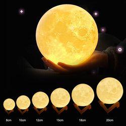 ZINUO Перезаряжаемые луна лампа DC5V 3D печать задний фон луна ночь лампа сенсорный Управление Яркость (желтый + белый) Лунный свет творческие под...