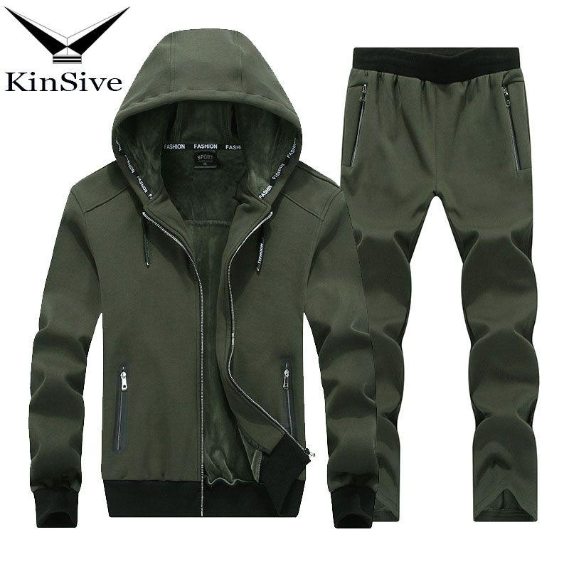 2018 Winter Brand Men Tracksuit Two Piece Sets High Quality Cotton Thick Warm Hoodies Jacket + Pants Track Suit For Men Clothes