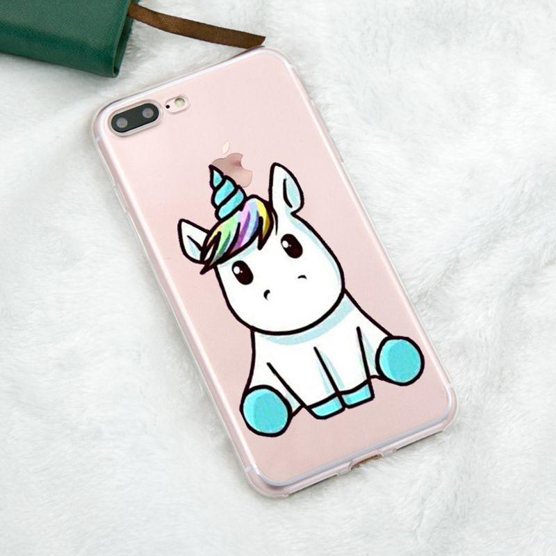 Прекрасный единорог для IPhone X чехол мягкий силиконовый В виде ракушки телефона чехол для iPhone 5 5S SE 6 S 7 8 плюс задняя крышка Coque милые животные п...
