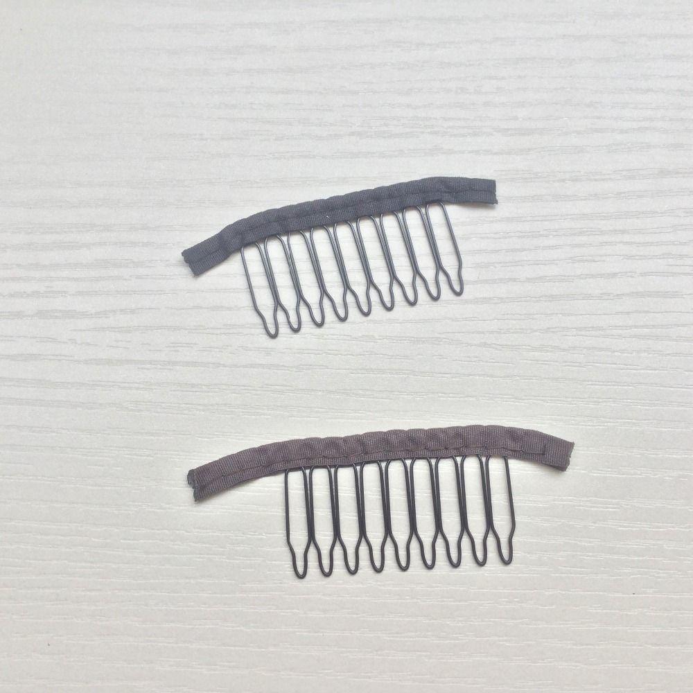 Accessoires de perruque, cheveux perruque Cap peignes et Clips pour perruque casquette, 2 couleurs, noir, brun foncé, 9 teeth30pcs/Lot, livraison gratuite