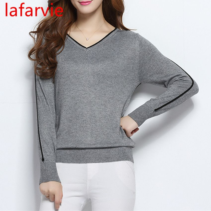 LAFARVIE LOWEST PRICE Women Fashion Outwear Pullover Knitted <font><b>Cashmere</b></font> Sweater High Quality New Design Pure Colors Free Shipping