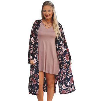 Femmes D'été En Mousseline de Soie Blouses Boho Kimono Cardigan Floral Imprimer Manches Longues Casual Long Beach Cover Up Tops blusa feminino