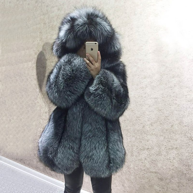 Luxury Winter Natural Real Fox Fur Coat Women Whole Skin Genuine Leather Fur Jacket With Hood Silver Fox Fur Coat for Female