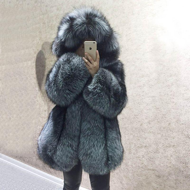 Luxus Winter Natürliche Echt Fox Pelz Mantel Frauen Ganze Haut Echtem Leder Pelz Jacke Mit Kapuze Silber Fuchs Pelz Mantel für Weibliche