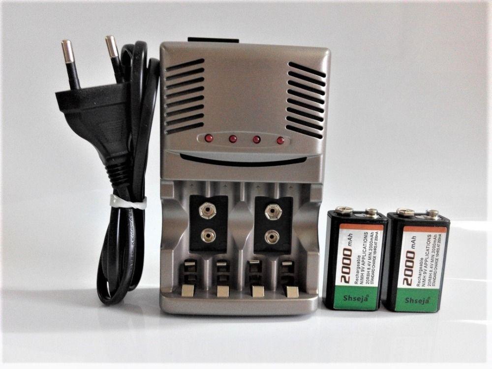 NOUVEAU chargeur! Powerfu 2000 mah 9 V NiMH rechargeable Ensemble, 2 pcs 9 v rechargeable batterie + 1 pcs Universelle 9 v aa aaa chargeur de batterie