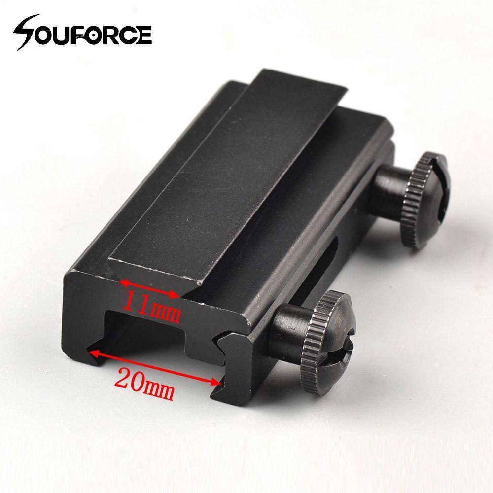 1 stück Metall 20mm Schwalbenschwanz bis 11mm Montieren Weaver Picatinny Schiene Basis Durchsichtig Adapter Kostenloser Versand