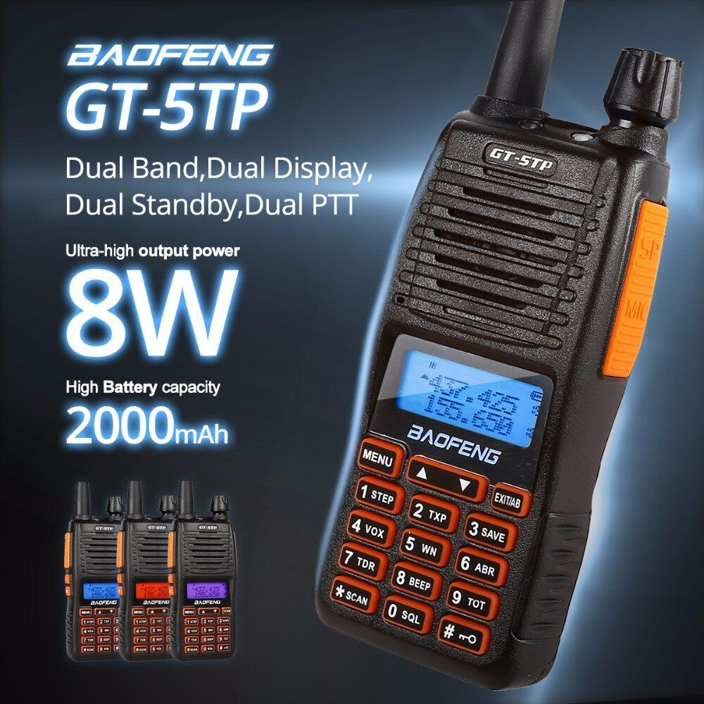 Baofeng GT-5TP Tri-puissance 1/4/8W Double bande VHF/UHF 136-174/400-520MHz Radio bidirectionnelle talkie-walkie Double PTT conception GT-5