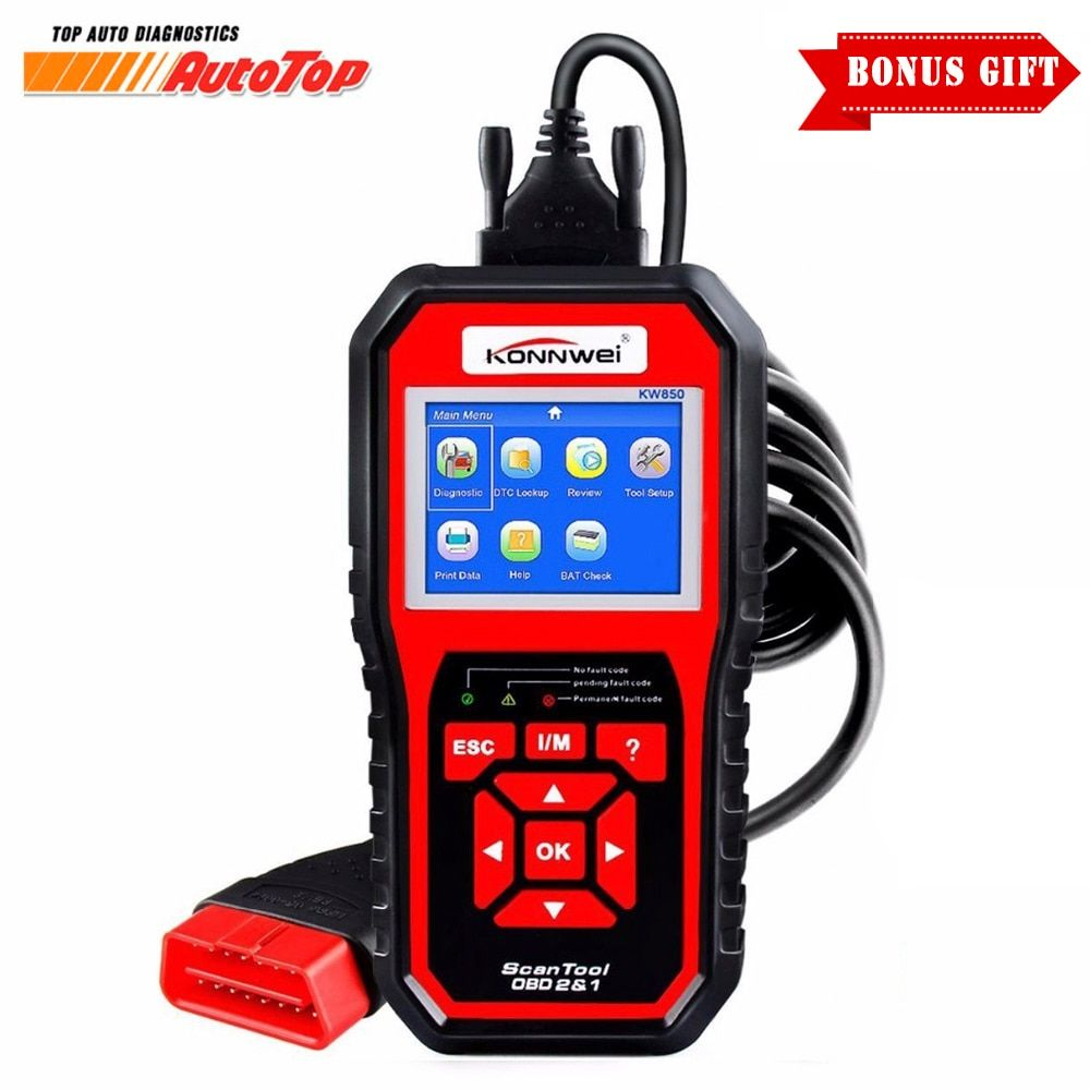 2017 OBD 2 OBD2 Autoscanner Automotive Scanner KONNWEI KW850 Multi-languages Auto Diagnostic Tool Better Than AL519 in Russian