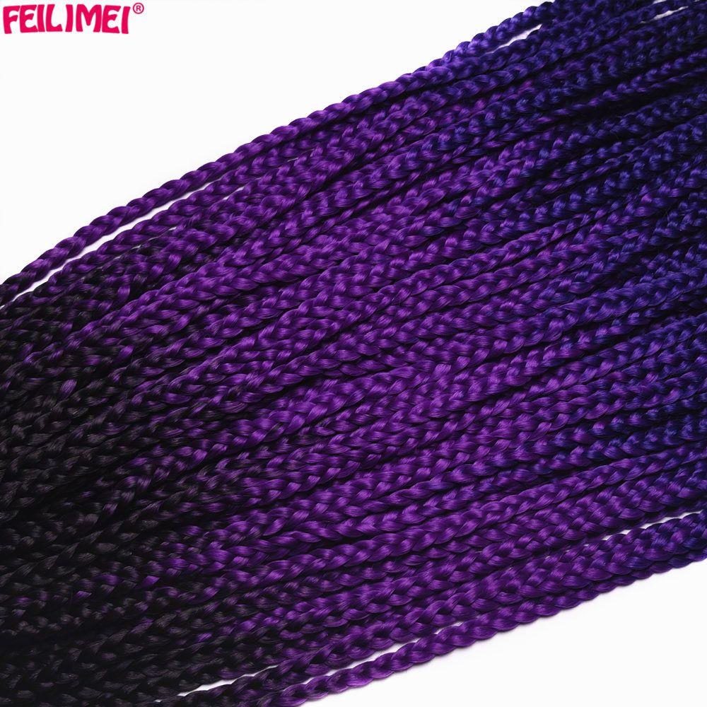 Feilimei Ombre 3S Box Braids Hair 22 Inch 100g Synthetic Black Purple Brown Blonde Gray Blue Crochet Braiding Hair Extensions