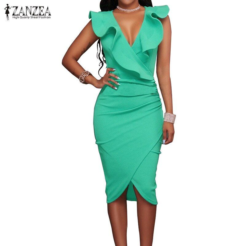 ZANZEA 2018 Women Summer Dress Sexy Sleeveless V Neck Pencil Party Dresses <font><b>Ladies</b></font> Ruffles Bodycon Slim Midi Club Vestidos