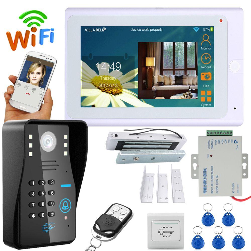 YobangSecurity 7 Inch Monitor Wifi Wireless Video Door Phone Doorbell Camera Intercom KIT With Electronic Door Lock Power Supply