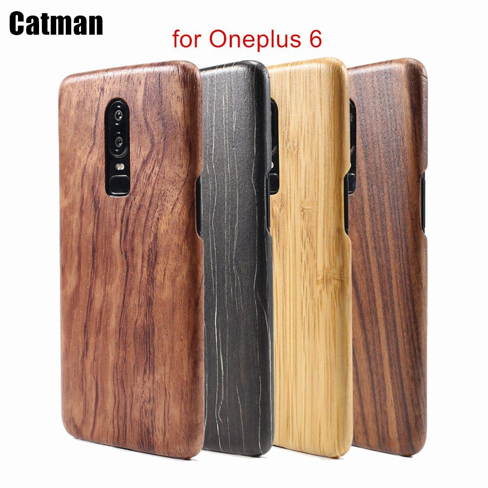 <font><b>oneplus</b></font> 6 case catman original genuine real wood funda bamboo rosewood luxury back cover phone shell one plus 6 case