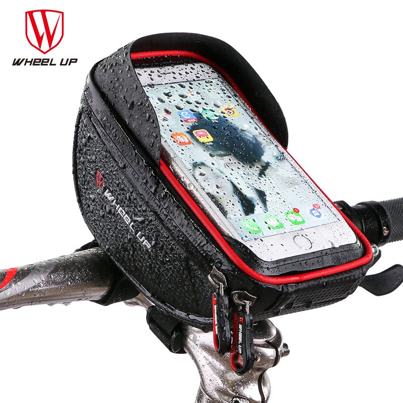 <font><b>WHEEL</b></font> UP Waterproof MTB Road Bike Bicycle Front Bag Cycling Top Tube Frame Handlebar Bag 6.0 inch Cycling Pouch Cellphone Bag