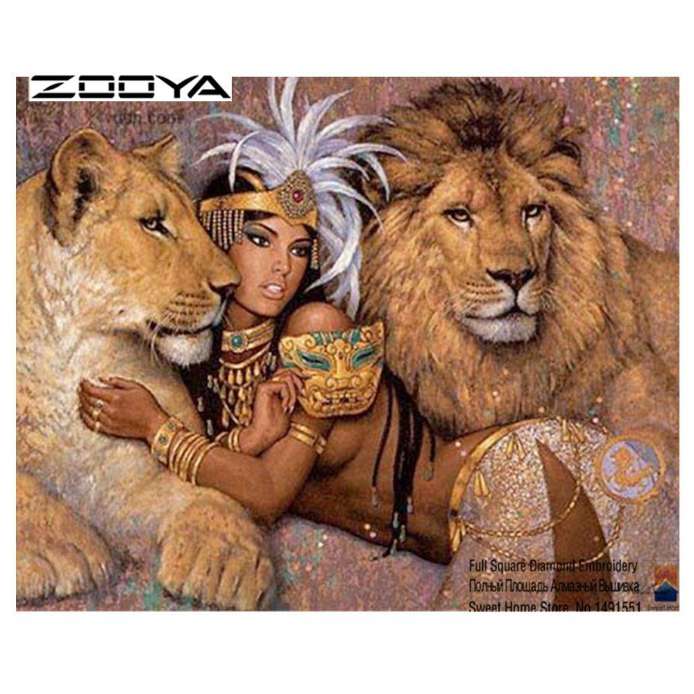 ZOOYA bricolage diamant peinture diamant broderie 5D carré complet diamant décoration de la maison Europe mosaïque Kit fille et le Lion T6102-3