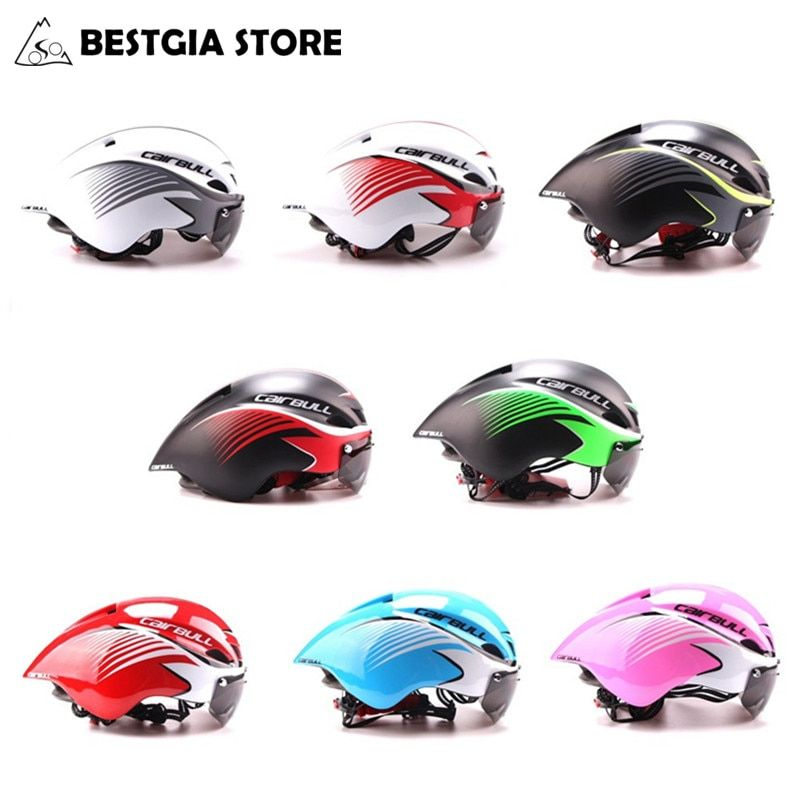 290g Triathlon Road Bike Helmet Bicycle Integrally-Molded Aerodynamic Sport Cycling Helmet With Goggles Casco Ciclismo 8 colors