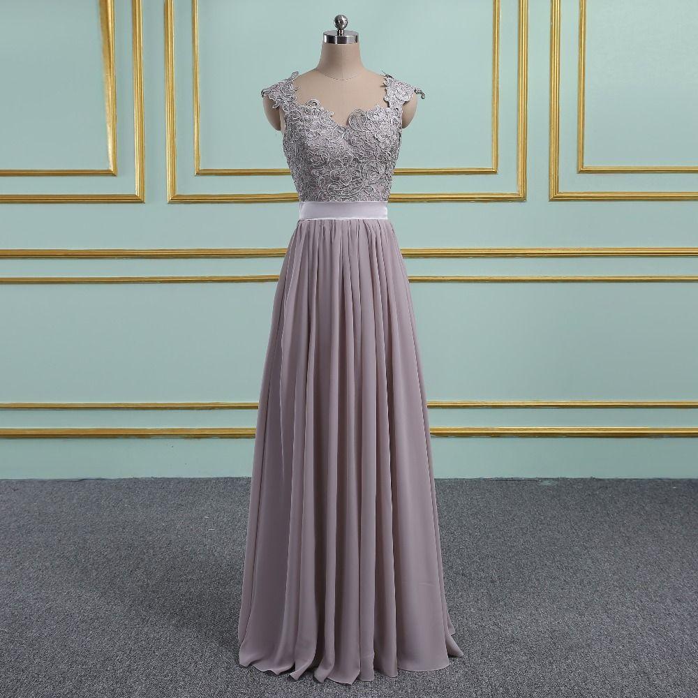 Vestido de Festa Casamento Sexy Transparent Back gray Chiffon Lace Wedding Party Bridesmaid Dresses Robe Demoiselle D'honneur
