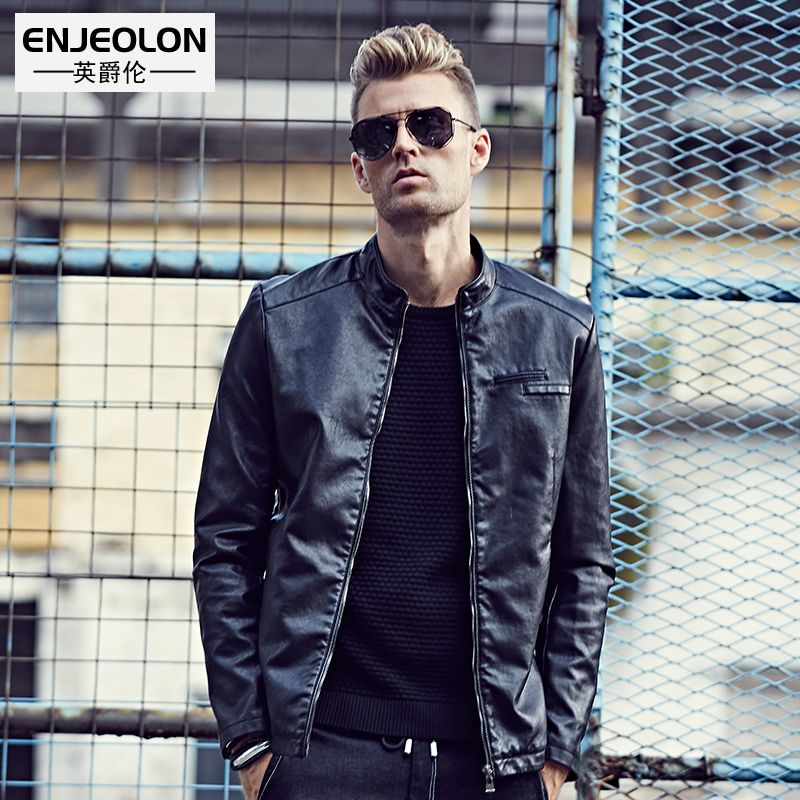 Enjeolon brand new Motorcycle Leather PU Jackets Men, zipper cuff fashion black Clothing, Stand collar Male Casual Coats P242