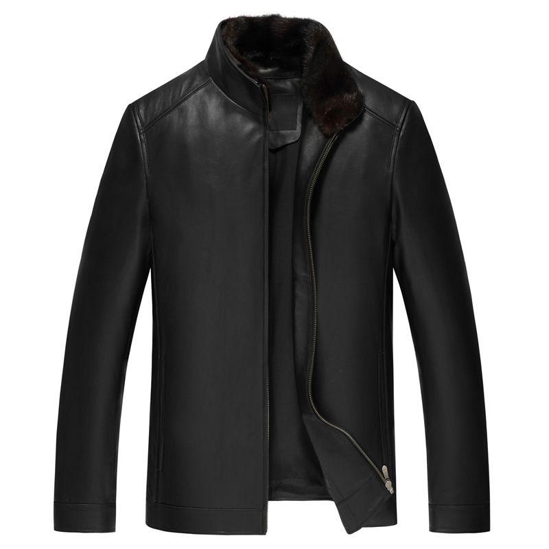 Genuine Leather Jacket Winter Warm Coat Mink Fur Collar Rabbit Casual Sheepskin Coat New Designer Leather Jackets Loose Size 5XL