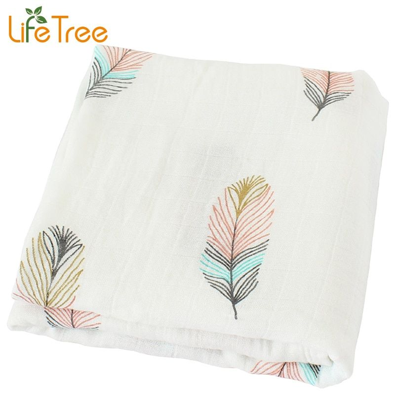 Baby Blanket Breathable Muslin Wrap Newborn Cotton Bamboo Fiber Baby Swaddle Multifunction Muslin Bedding 120*120cm